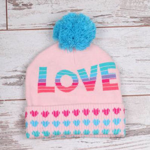 Chaser Love Hearts Pom Pom Hat Winter Hat Chaser 2-6 Years (HG)