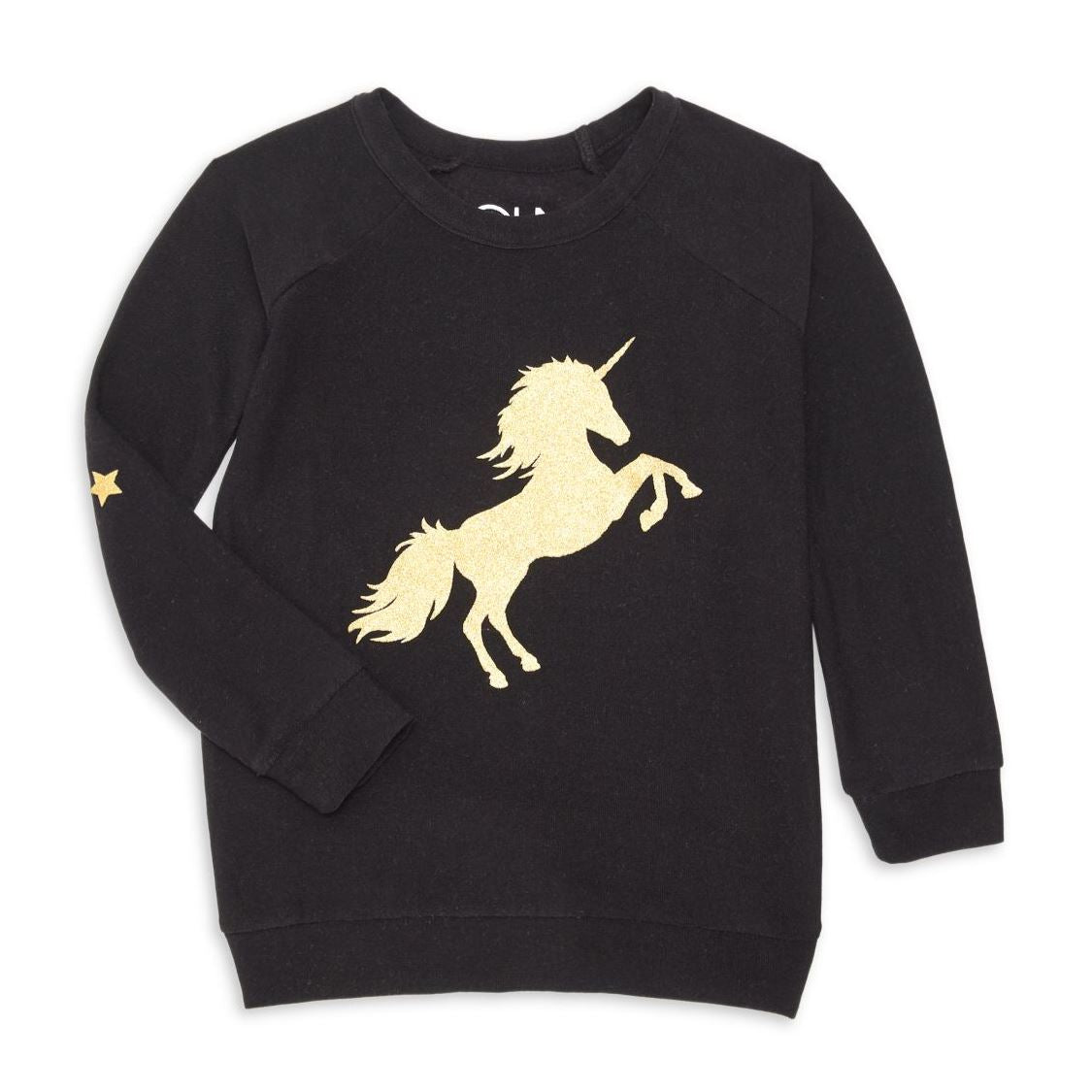 CHTW131-CHK1318 Chaser - Girls Golden Unicorn Black Pullover Long Sleeve Shirts Chaser