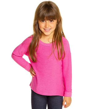 CHTW176-GPFT Chaser - Cozy Knit Grapefruit Hot Pink Girls Pullover Long Sleeve Shirts Chaser