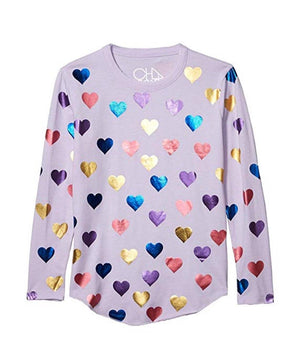 CHTW36-CHK1396-POSY Chaser - Shiny Hearts Girls Long Sleeve Shirt Long Sleeve Shirts Chaser