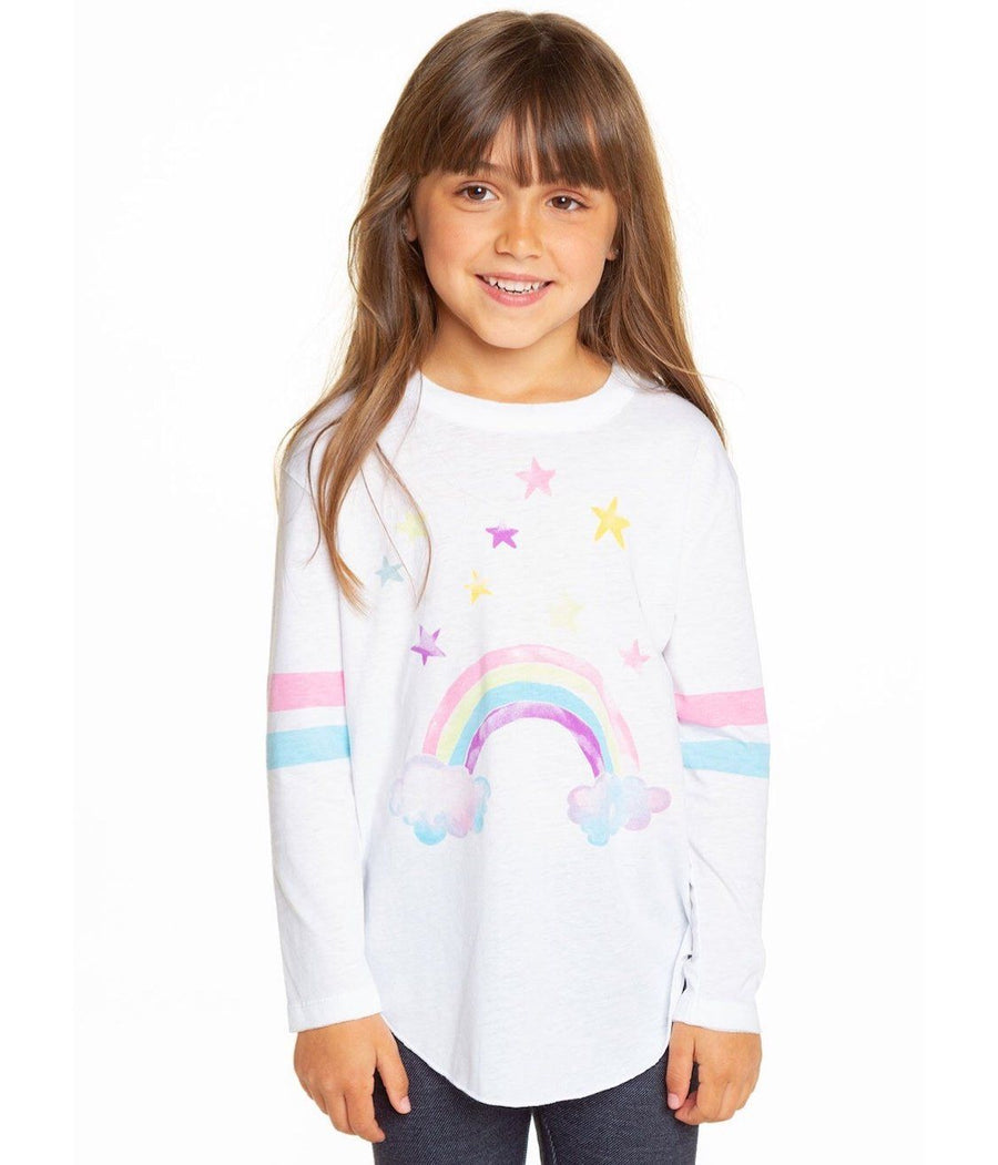 CHTW36-CHK1404-WHT Chaser - Watercolor Rainbow Girls Long Sleeve Shirt Long Sleeve Shirts Chaser