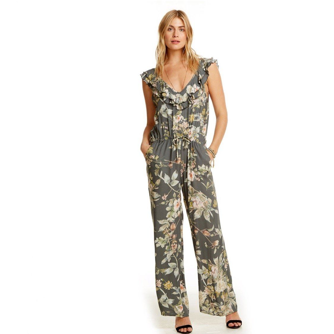 CW7359 Chaser Brand - Heirloom Wovens Floral Double Ruffle Wide Leg Jumpsuit Dress Chaser