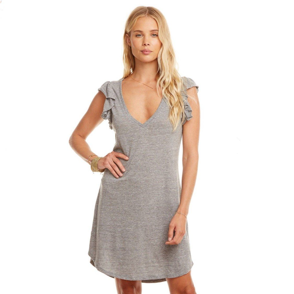 CW7706 Chaser Brand - Streaky Grey Triblend Flutter Sleeve Hi-Lo V-Neck Woman's Dress Dress Chaser