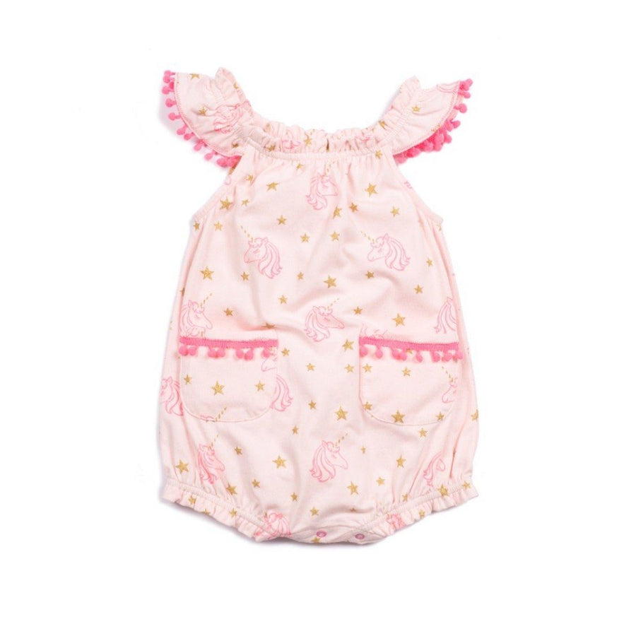egg - Baby Girl Kiera Pink Unicorns Romper Romper egg by Susan Lazar