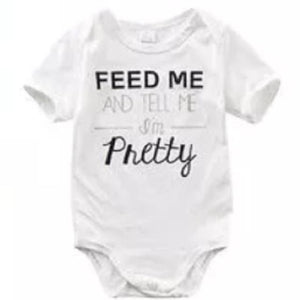 """Feed me and tell me I'm pretty"" white onesie (12-18 Months) Onesie Tiny Trendsetter 12-18 Months"