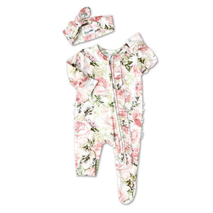 Gigi and Max - Caroline Floral Newborn Footed Ruffle Zip & Headband Romper Gigi and Max