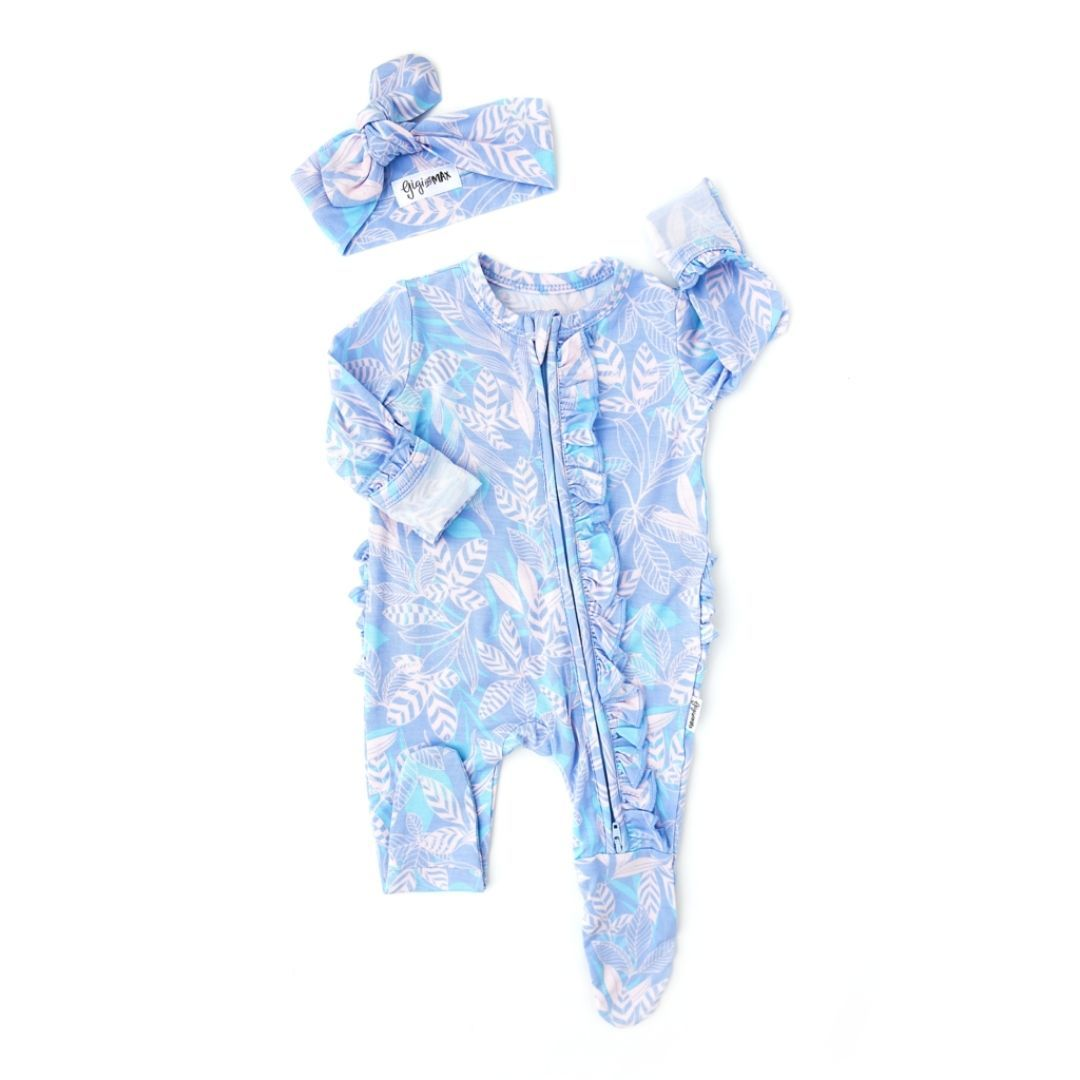 Gigi and Max - Ellie Floral Newborn Footed Ruffle Zip & Headband Romper Gigi and Max