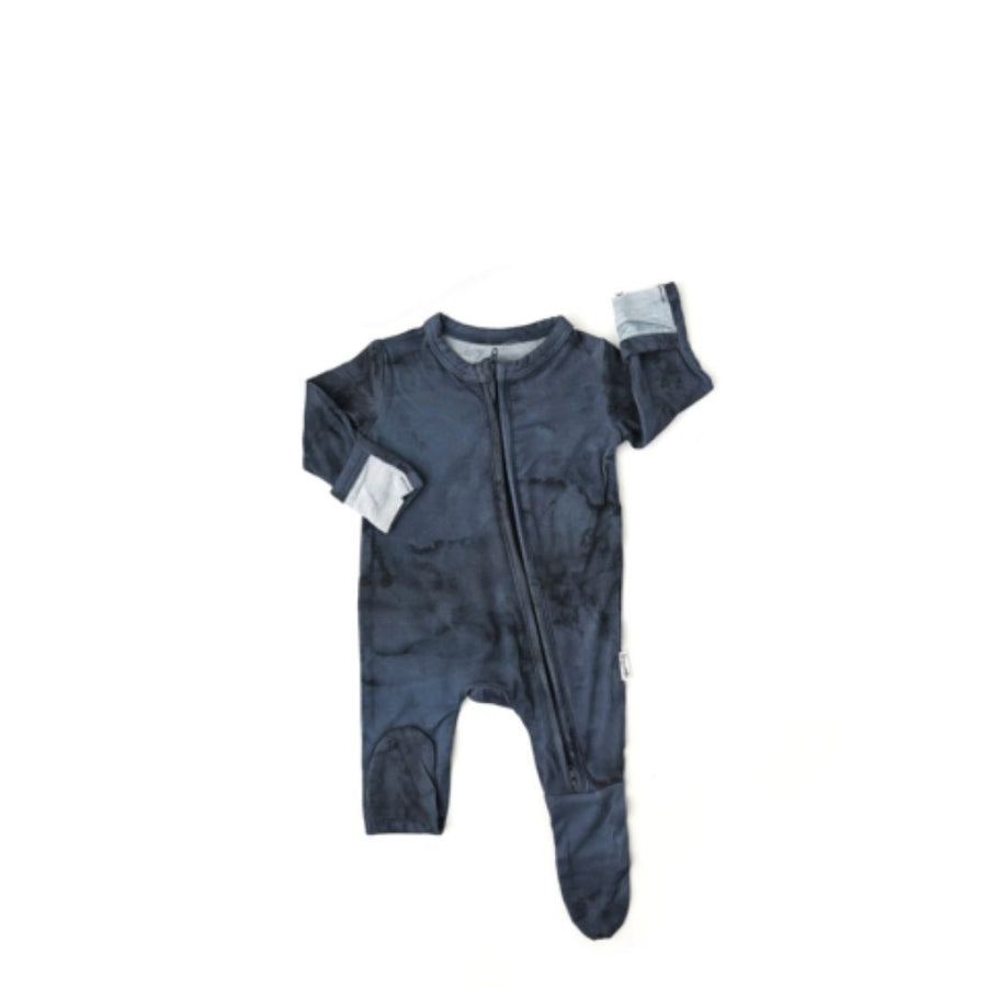Gigi and Max - Jack Navy Marble Newborn Footed Zip & Knot Hat Romper Gigi and Max