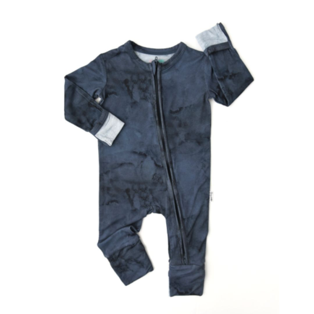 Gigi and Max - Jack Navy Marble Zip One Piece Romper Romper Gigi and Max