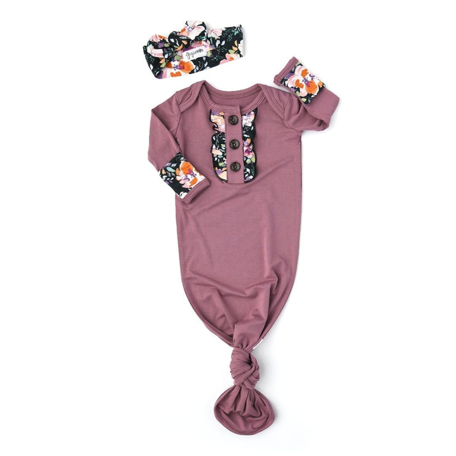 Gigi and Max - Kate & Willow Floral Knotted Ruffle Button Gown & Headband Gown & Headband Set Gigi and Max