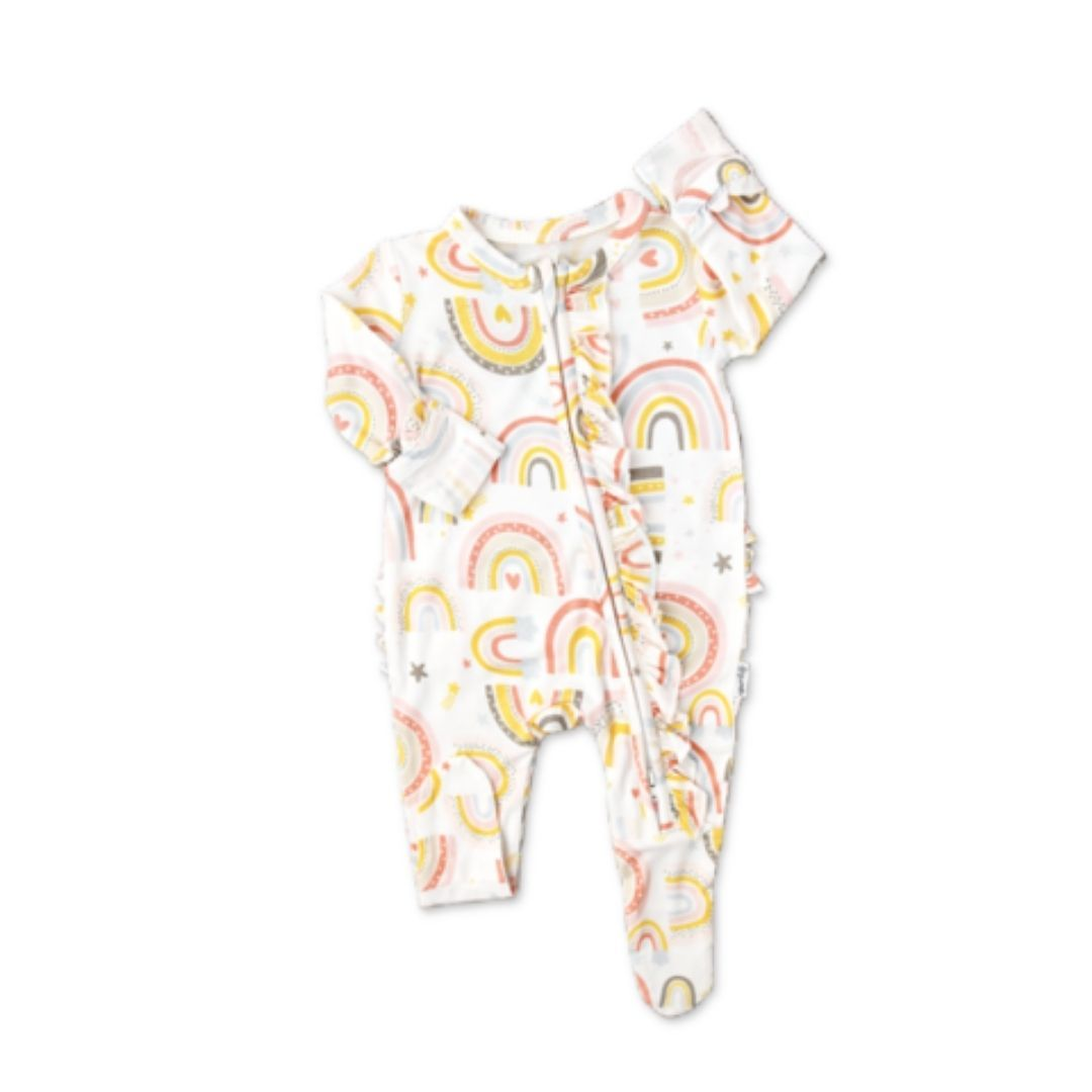 Gigi and Max - Millie Rainbow Newborn Footed Ruffle Zip & Headband Romper Gigi and Max