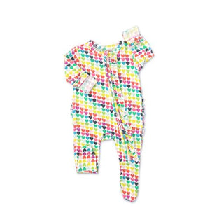 Gigi and Max - Piper Hearts Newborn Footed Ruffle Zip Sleeper Gigi and Max