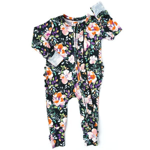 Gigi and Max - Willow Charcoal Floral Ruffle Zip One Piece Romper Romper Gigi and Max