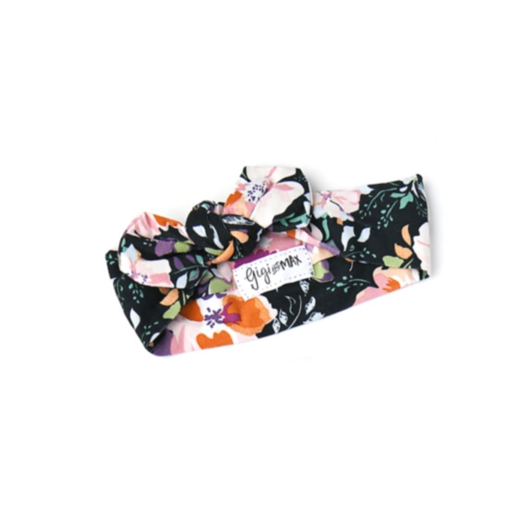 Gigi and Max - Willow Charcoal Floral Topknot Headband Headband Gigi and Max