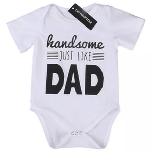Handsome like dad white onesie (18-24 Months) Onesie Tiny Trendsetter 18-24 Months