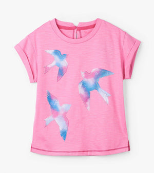 Hatley - Gaga Pink Singing Hummingbird Graphic Tee Short Sleeve Shirt Hatley