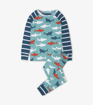 Hatley - Great White Sharks Organic Cotton Raglan Pajama Set Pajamas Hatley