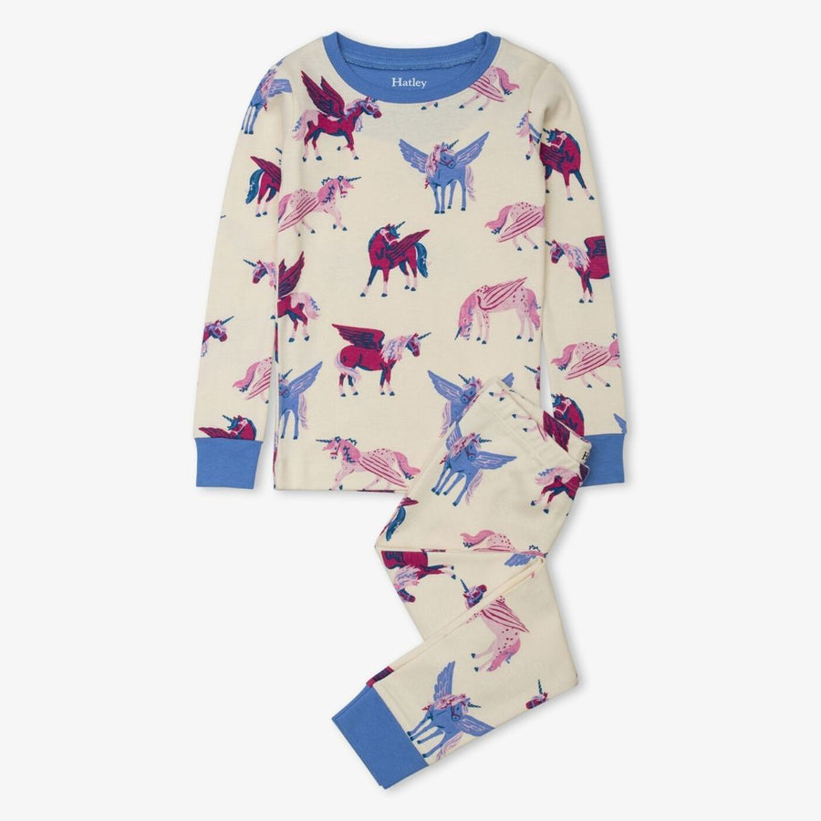 Hatley - Mystical Unicorns Organic Cotton Raglan Pajama Set Pajamas Hatley