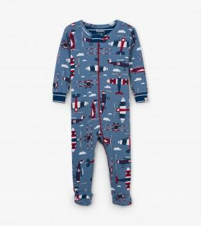 Hatley - Organic Cotton Paper Planes Footed Coverall Pajamas Hatley