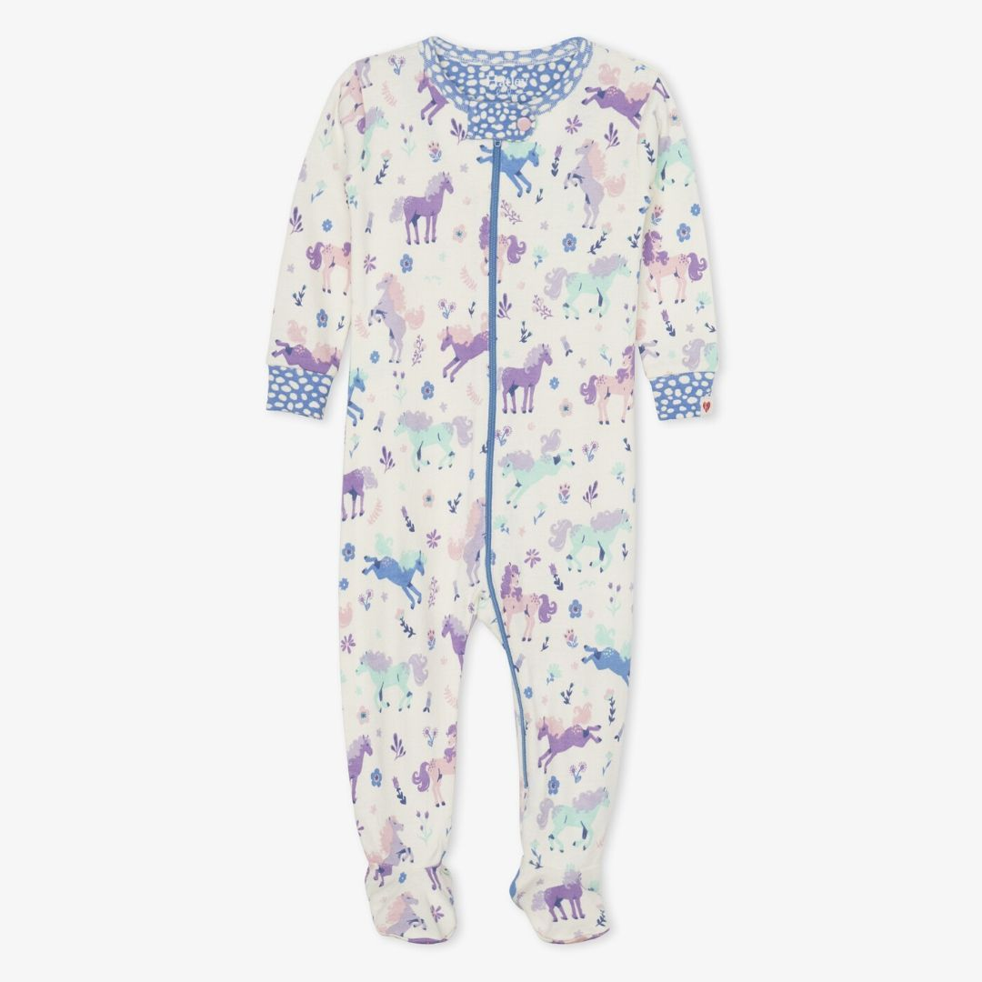 Hatley - Playful Ponies Organic Cotton Footed Coverall Pajamas Hatley