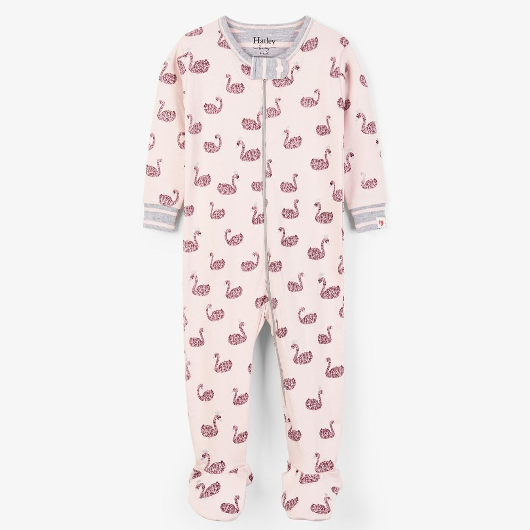 Hatley - Swan Lake Organic Cotton Footed Coverall Pajamas Hatley