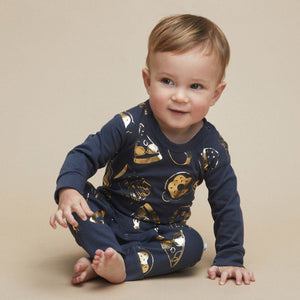 HB1414 Hux Baby - Gold Food Baby Romper - Ink Romper Hux Baby