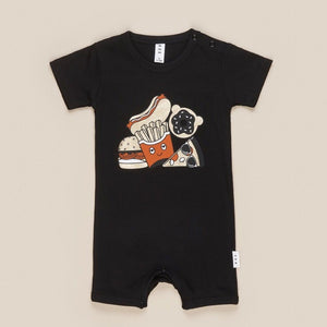 HB1424 Hux Baby - Gold Food Baby Short Romper - Black Romper Hux Baby