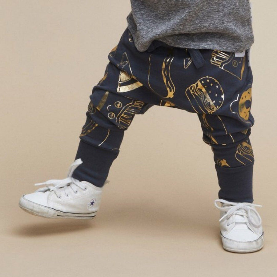 HB1461 Hux Baby - Gold Food Drop Crotch Pants - Ink Short Sleeve Shirts Hux Baby