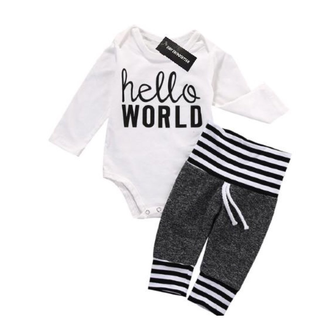 Hello World Longsleeve Baby Onesie Outfit Tiny Trendsetter