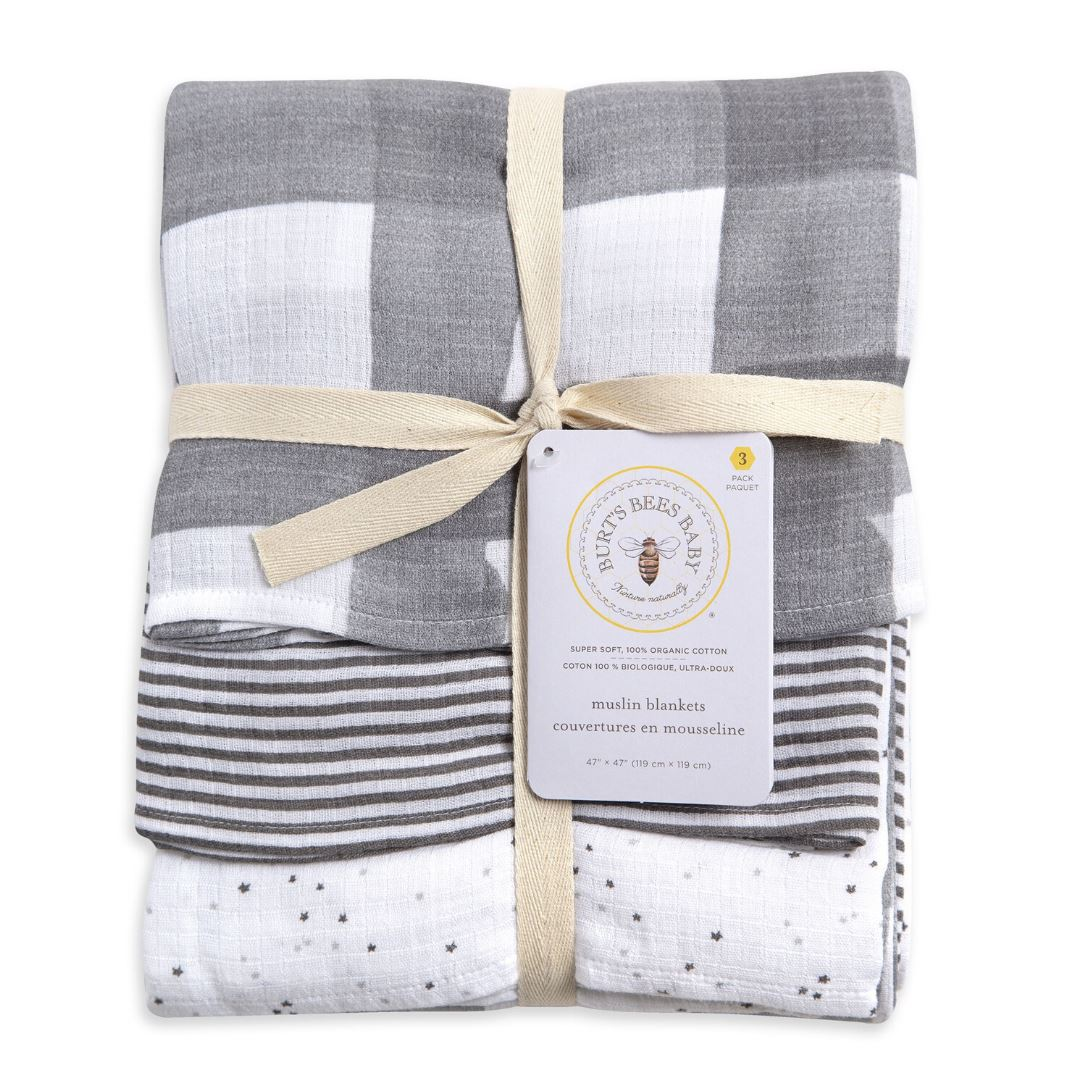 HM25787 Burt's Bees - Starry Eyes Woven Muslin Blankets 3 pack - Charcoal Swaddle Burt's Bees Baby One Size Charcoal
