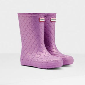 Hunter Original Kids First Sea Dragon Texture Rain Boots: Lilac Rain Boots Hunter