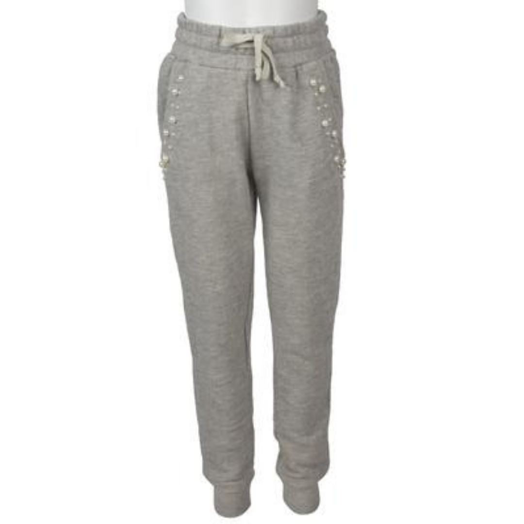 KB5548 Vintage Havana - Girls French Terry Pearl Trim Joggers - Heather Grey Pants Vintage Havana