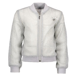Le Chic- Girls Glitter Bomber Jacket - Silver Jacket Le Chic