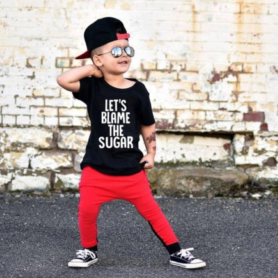 Let's Blame the Sugar Black Unisex T-shirt Short Sleeve Shirts Tiny Trendsetter 12-24 Months