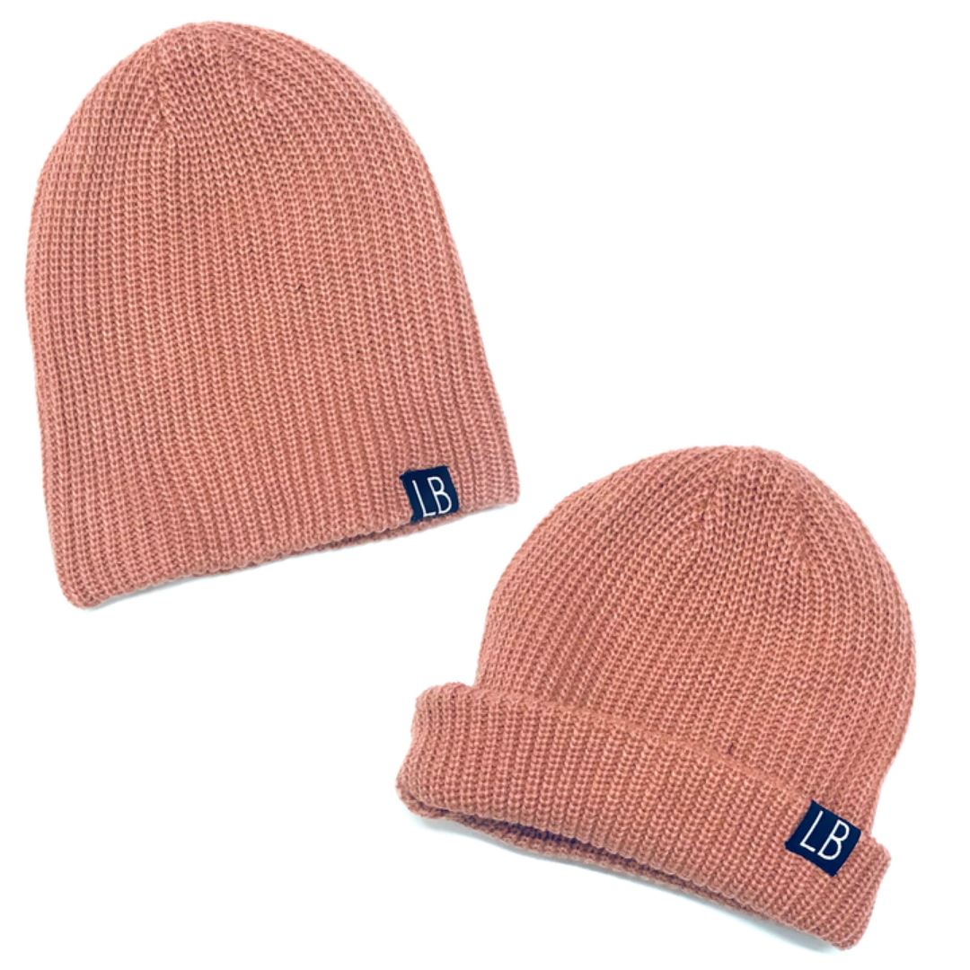Little Bipsy -Thick Knit Beanie- Blush Hats Little Bipsy