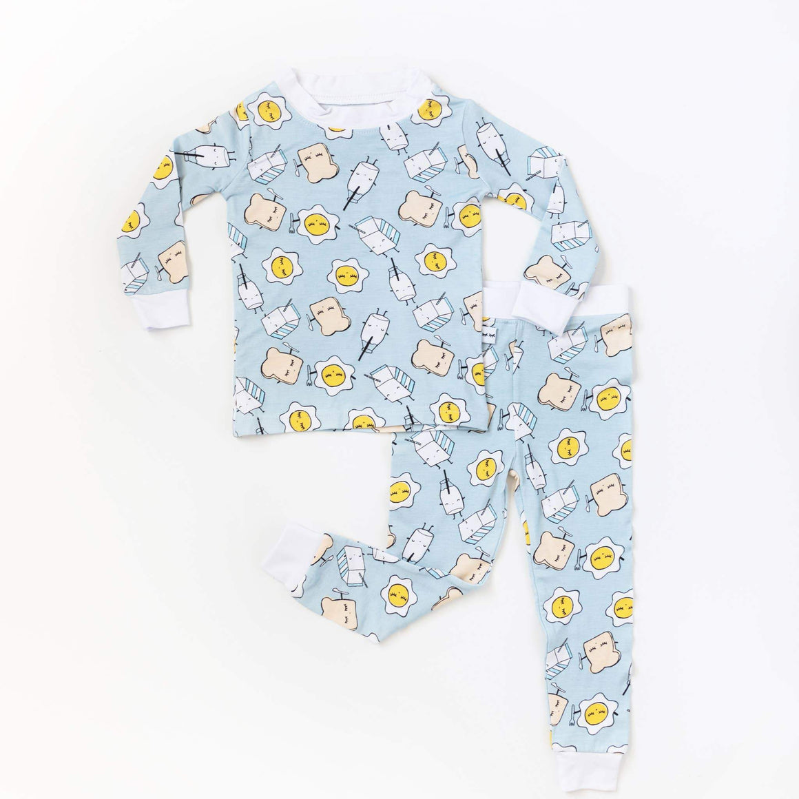 Little Sleepies - Blue Breakfast Buddies Two-Piece Bamboo Pajama Set Little Sleepies