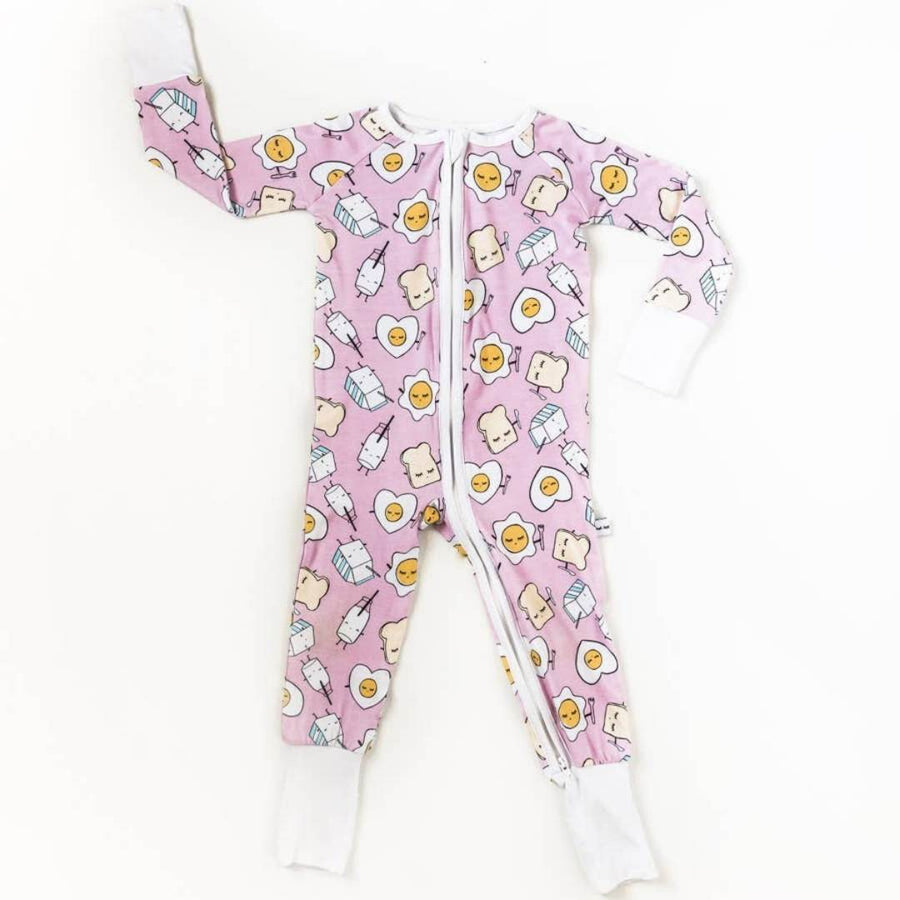 Little Sleepies - Pink Breakfast Buddies Baby & Toddler Bamboo Zip Romper/Sleeper Pajamas Little Sleepies