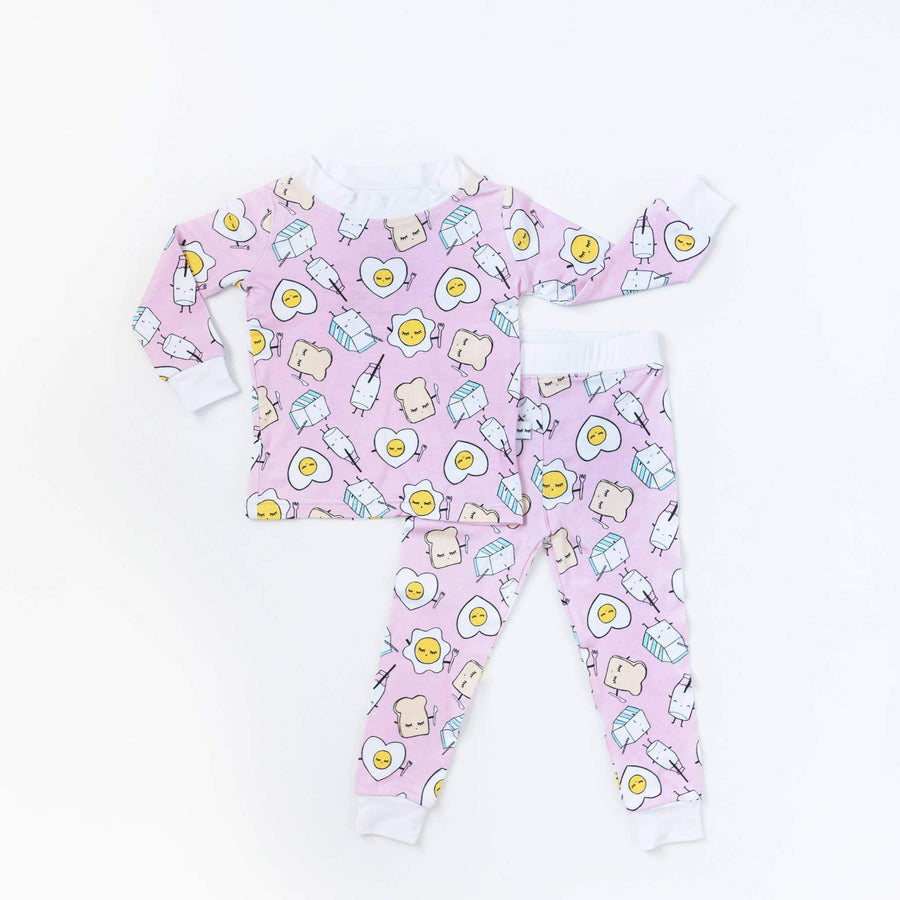 Little Sleepies - Pink Breakfast Buddies Two-Piece Bamboo Pajama Set Little Sleepies