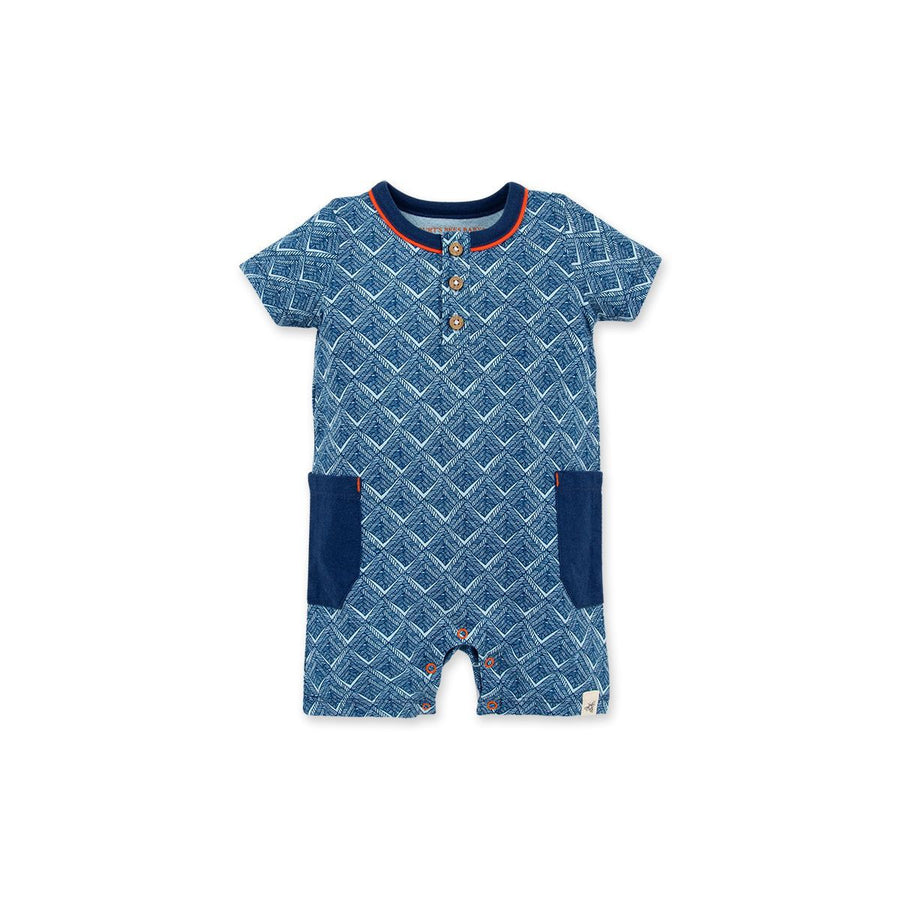 LY26482-DPO Burt's Bee Baby- Baby Through the Maze Henley Romper Romper Burt's Bees Baby