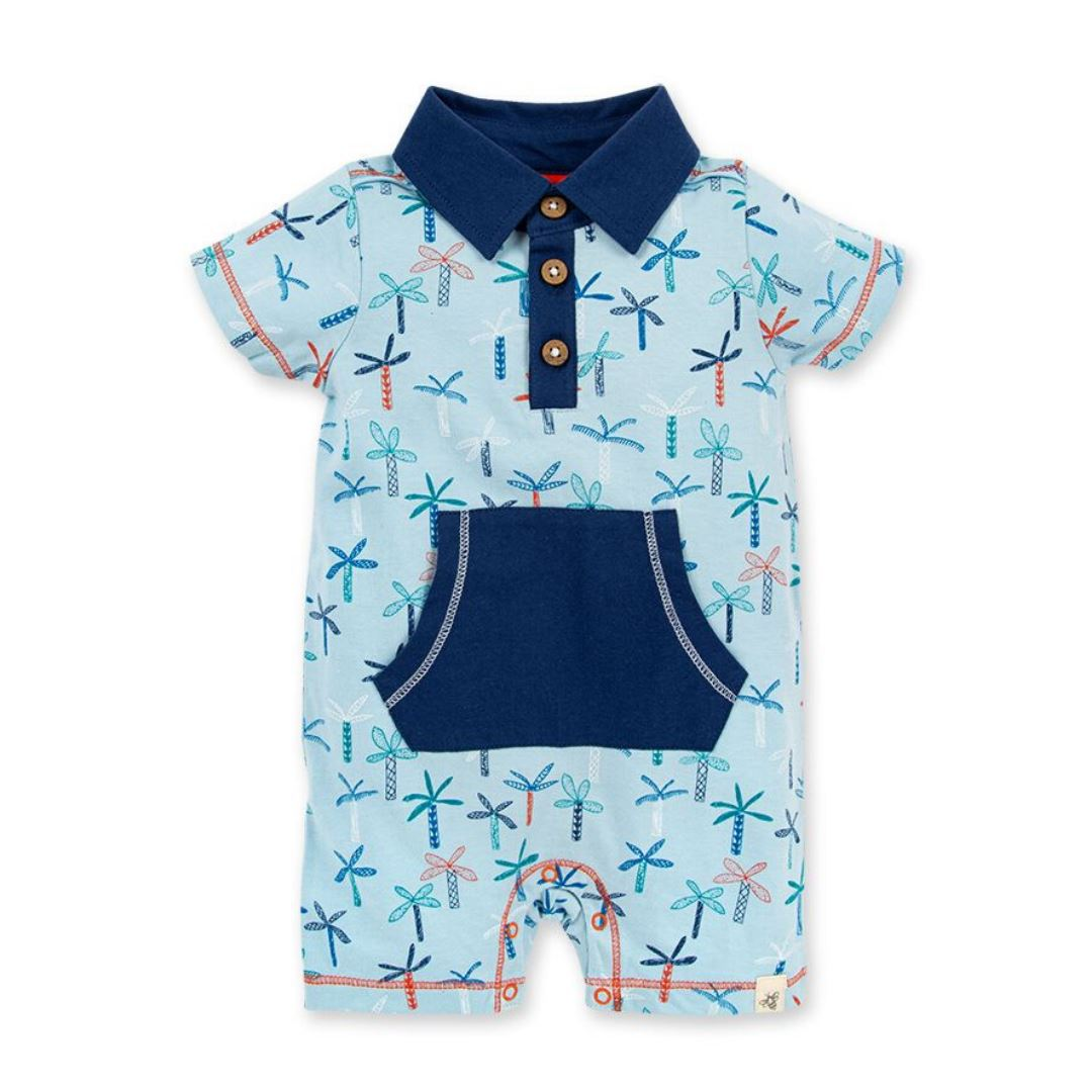LY26485-RDP Burt's Bee Baby - Raindrop Quirky Palms Polo Romper Romper Burt's Bees Baby