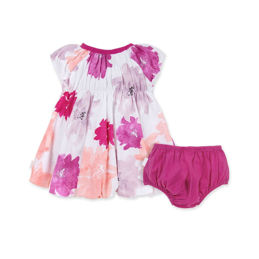 LY26561 - Burt's Bee Baby Water Color Spring Bubble Dress & Diaper Cover Dress Burt's Bees Baby