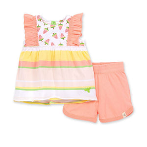 LY26592 - Burt's Bee Baby Watermelon Popsicles Organic Baby Tank Top & Shorts Set - Peach Blossom Shorts Burt's Bees Baby