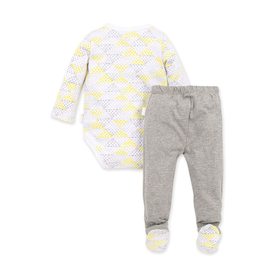 LY26608 -Burt's Bee Baby Spotted Diamond Organic Baby Bodysuit & Footed Pant Set Onesie Burt's Bees Baby