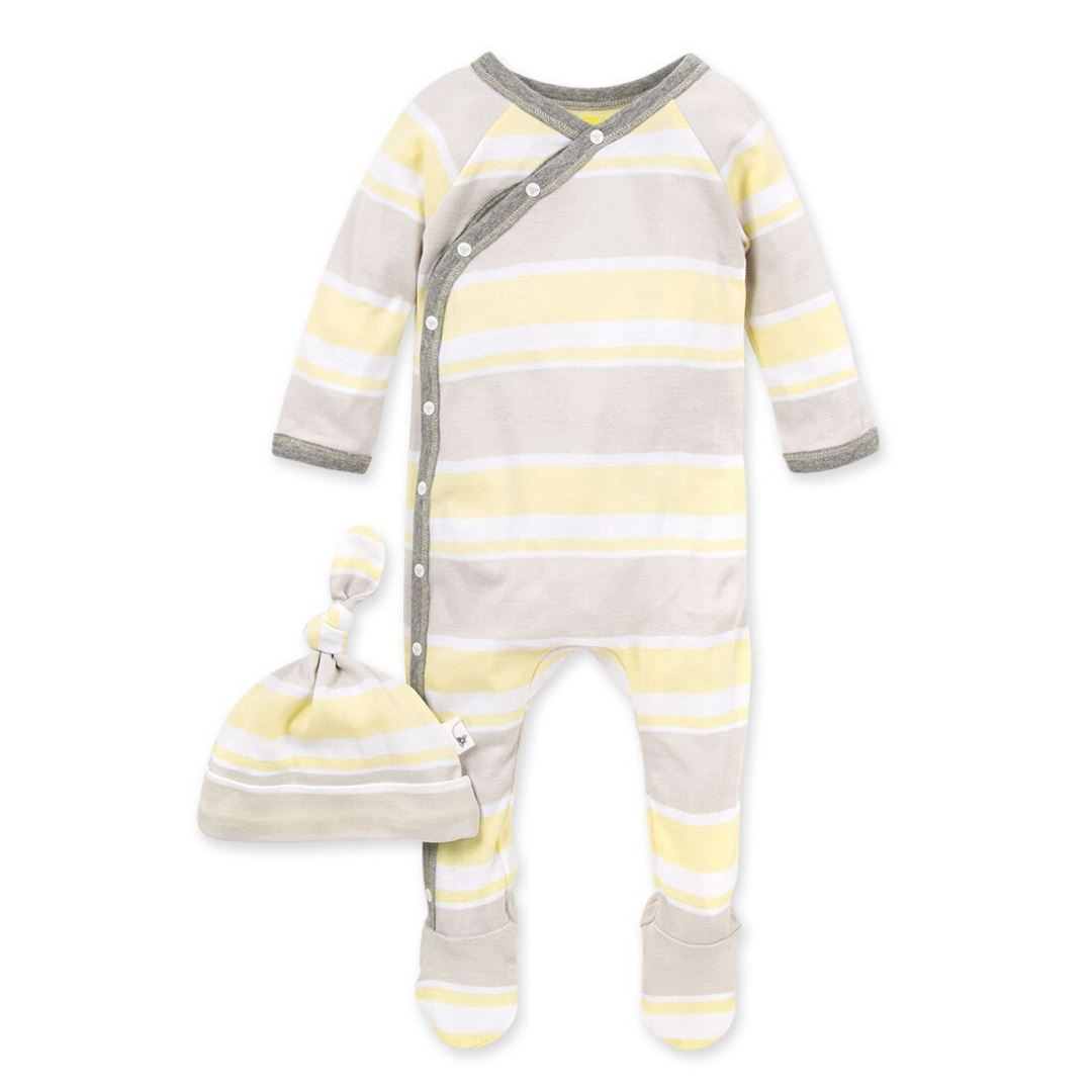 LY26611 -Burt's Bee Baby Local Stripe Organic Baby Footie Jumpsuit & Knot Top Hat Set - Pear Onesie Burt's Bees Baby