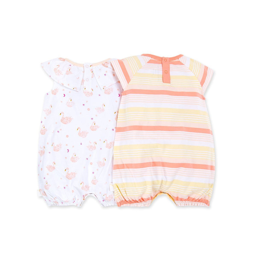 LY26640 -Burt's Bee Baby Graceful Swans Organic Baby Bubble Romper 2 Pack - Dawn Romper Burt's Bees Baby