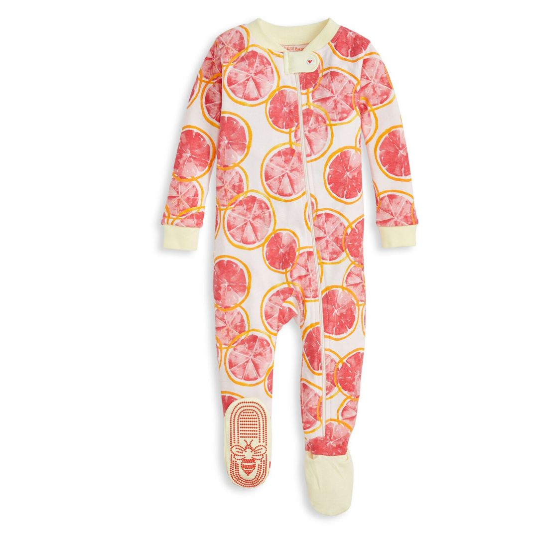 LY26728 - Burt's Bee Baby Grapefruit Organic Baby Zip Up Footed Pajamas Pajamas Burt's Bees Baby