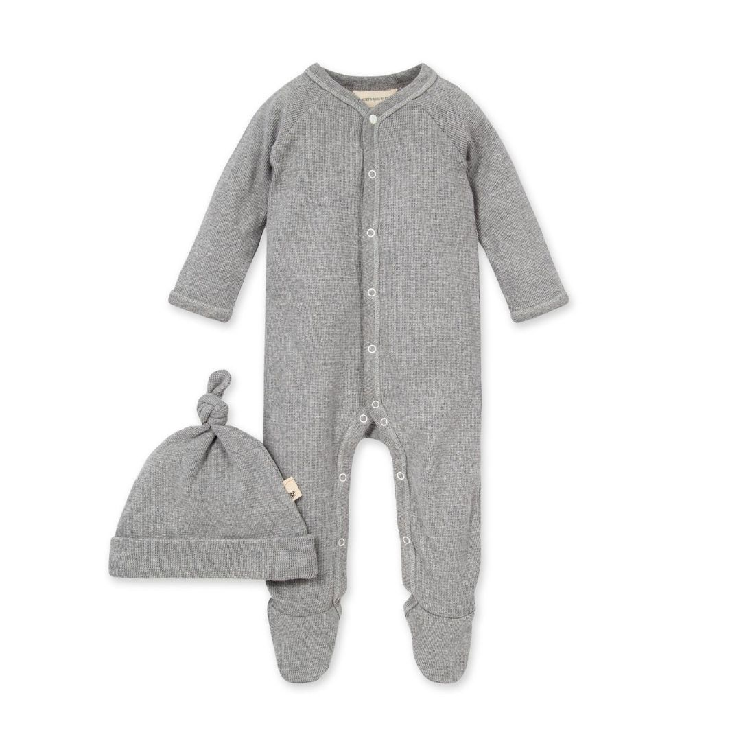 LY27026 Burt's Bee Baby- Thermal Footed Organic Baby Snap Front Jumpsuit & Hat - Heather Grey Pajamas Burt's Bees Baby