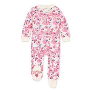 LY27146-EGS Burt's Bee Baby - Bold Blossoms Organic Baby Sleep & Play Zip Front Loose Fit Pajamas - Eggshell Pajamas Burt's Bees Baby