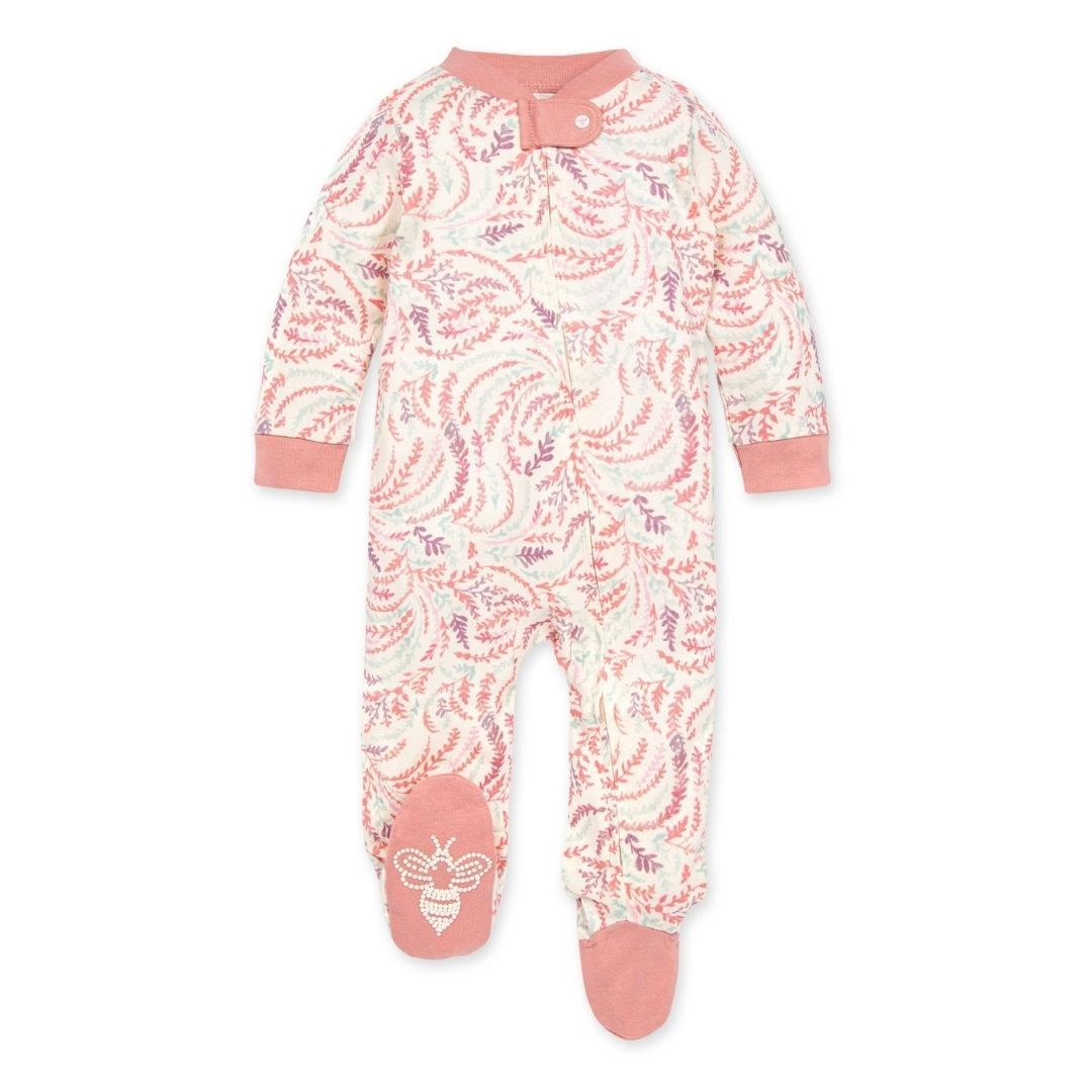 LY27153-RSQ Burt's Bee Baby - Swirly Twigs Organic Baby Sleep & Play Zip Front Loose Fit Pajamas - Rose Quartz Pajamas Burt's Bees Baby