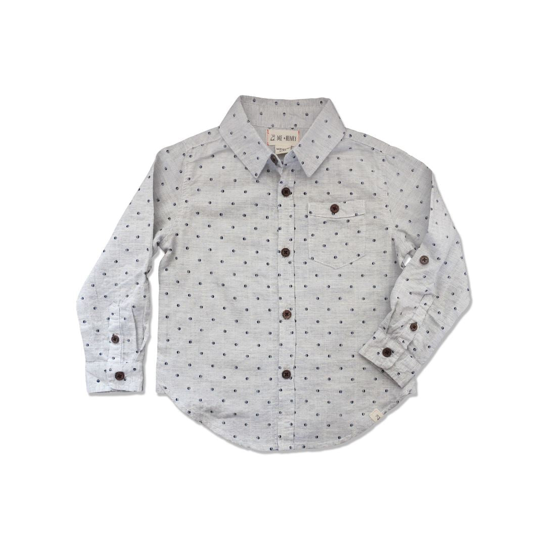 Me and Henry - Woven Grey Spot Long Sleeve Shirt Long Sleeve Shirts me & henry